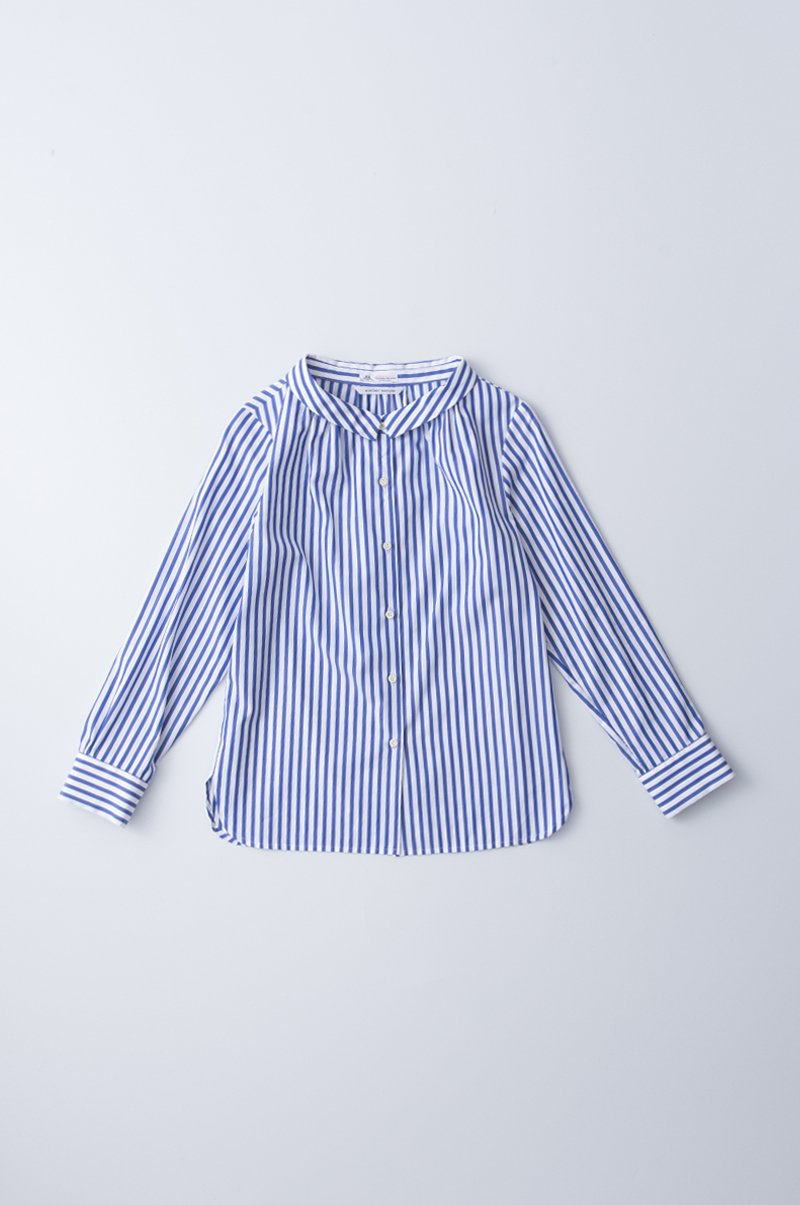 "cotton stand off collar blouse ""stripe"""