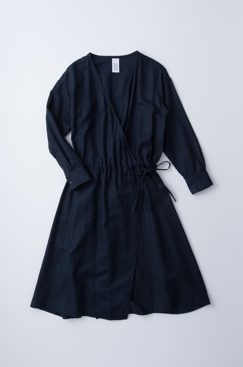 light double gauze kashukuru one-piece / navy