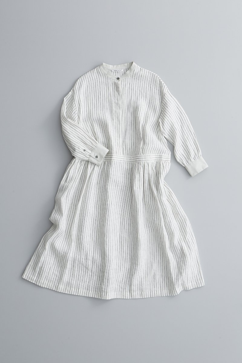 linen shirt one piece / stripe