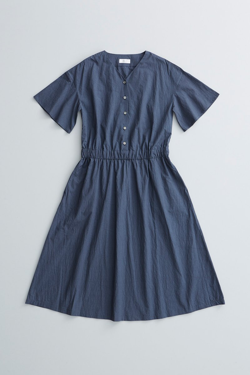 cotton bell-sleeve one-piece / navy
