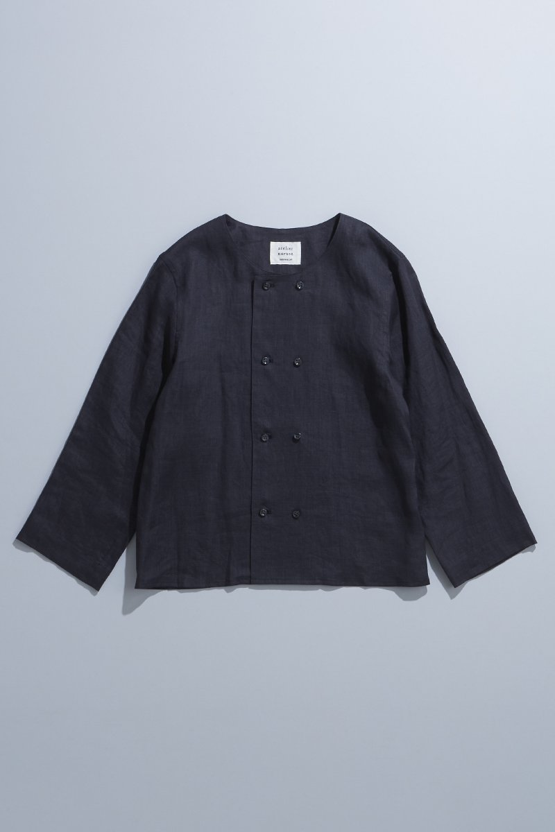 linen W button blouse  / sumikuro