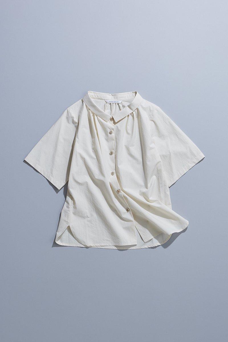 cotton typewriter off collar blouse / ivory