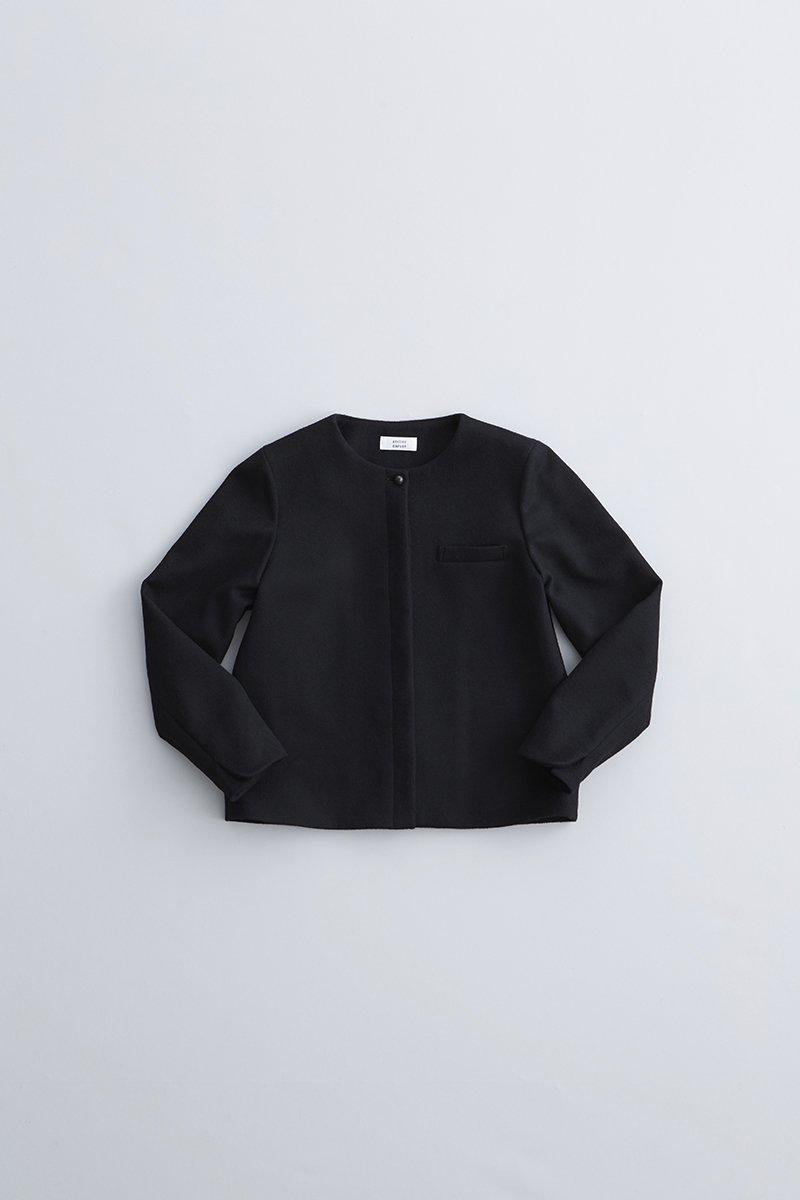beaver wool no collar jacket / black