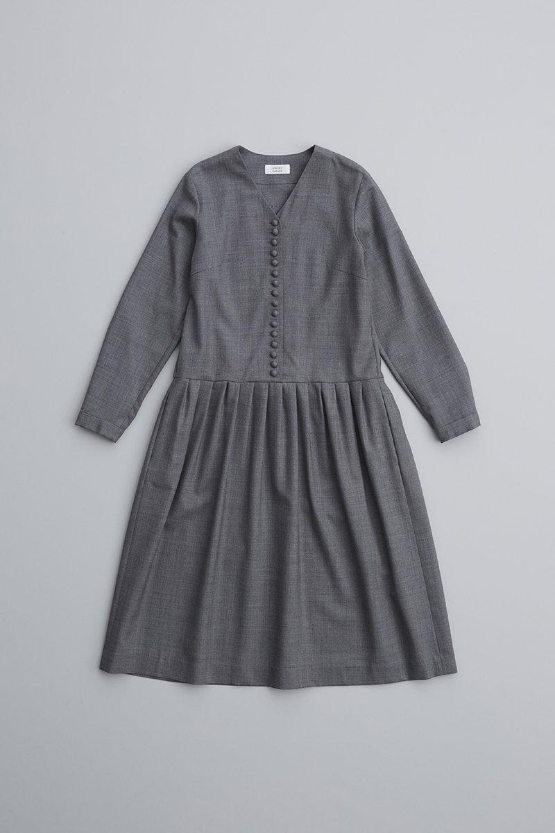 kurumi button formal one-piece / gray
