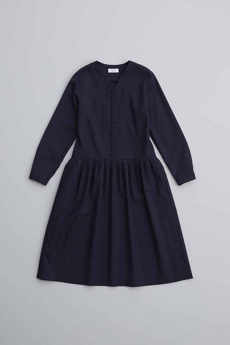 kurumi button formal one-piece / navy