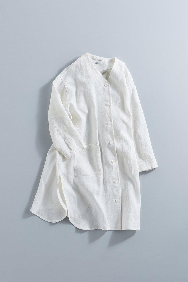 linen canvas V neck long shirt / off white