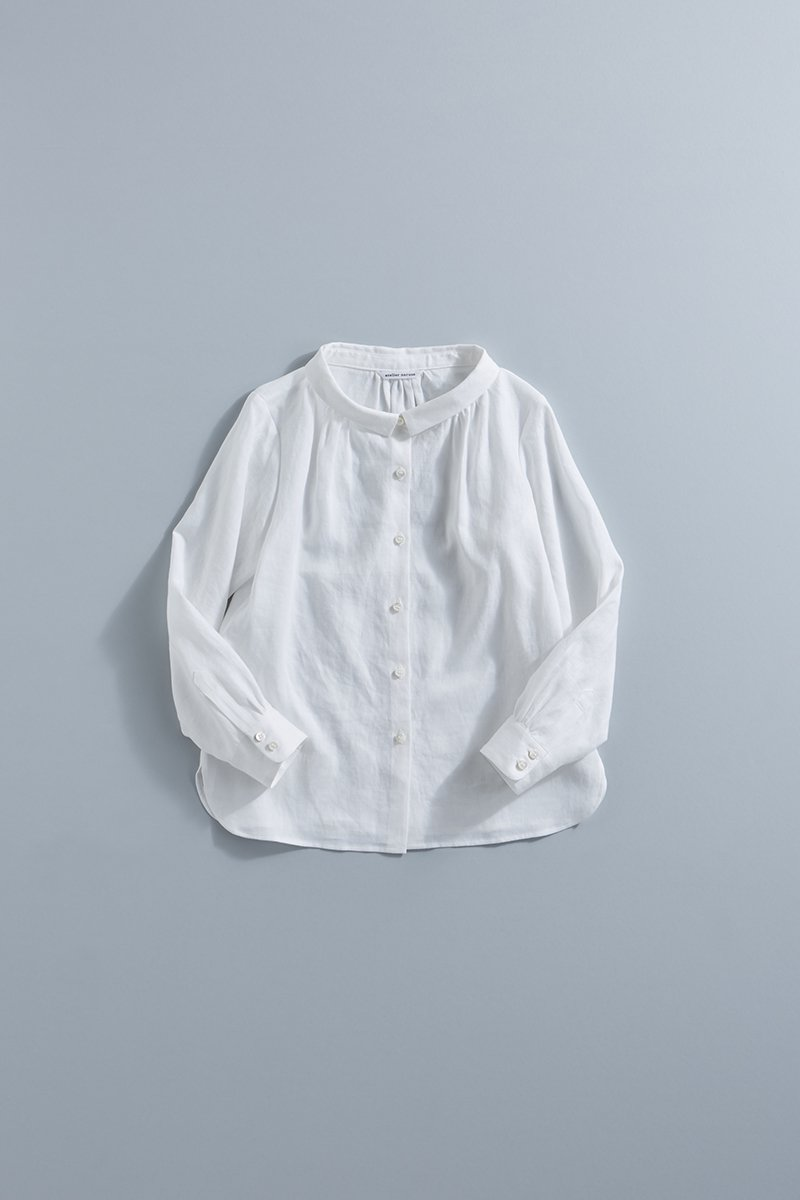 linen stand-off collar blouse / off white