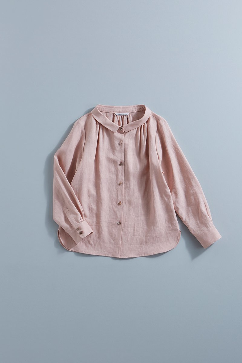 linen stand-off collar blouse / salmon pink
