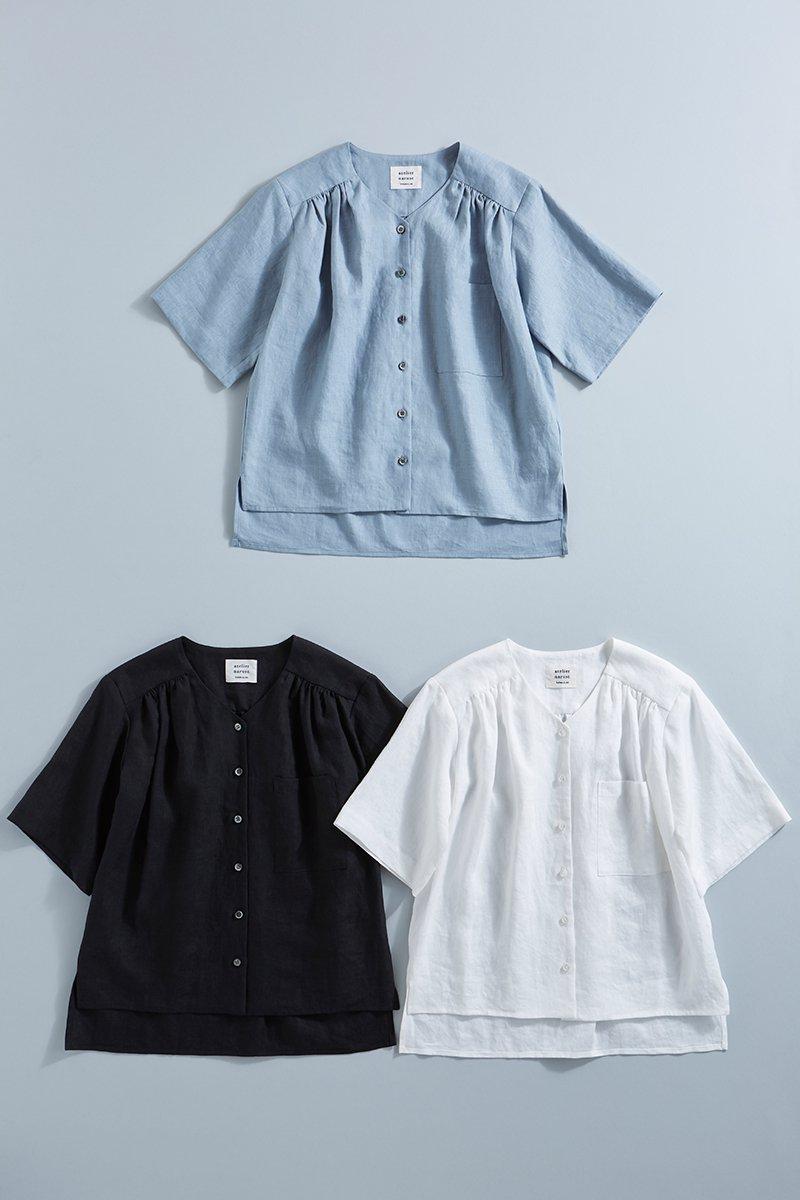 linen V neck shirt
