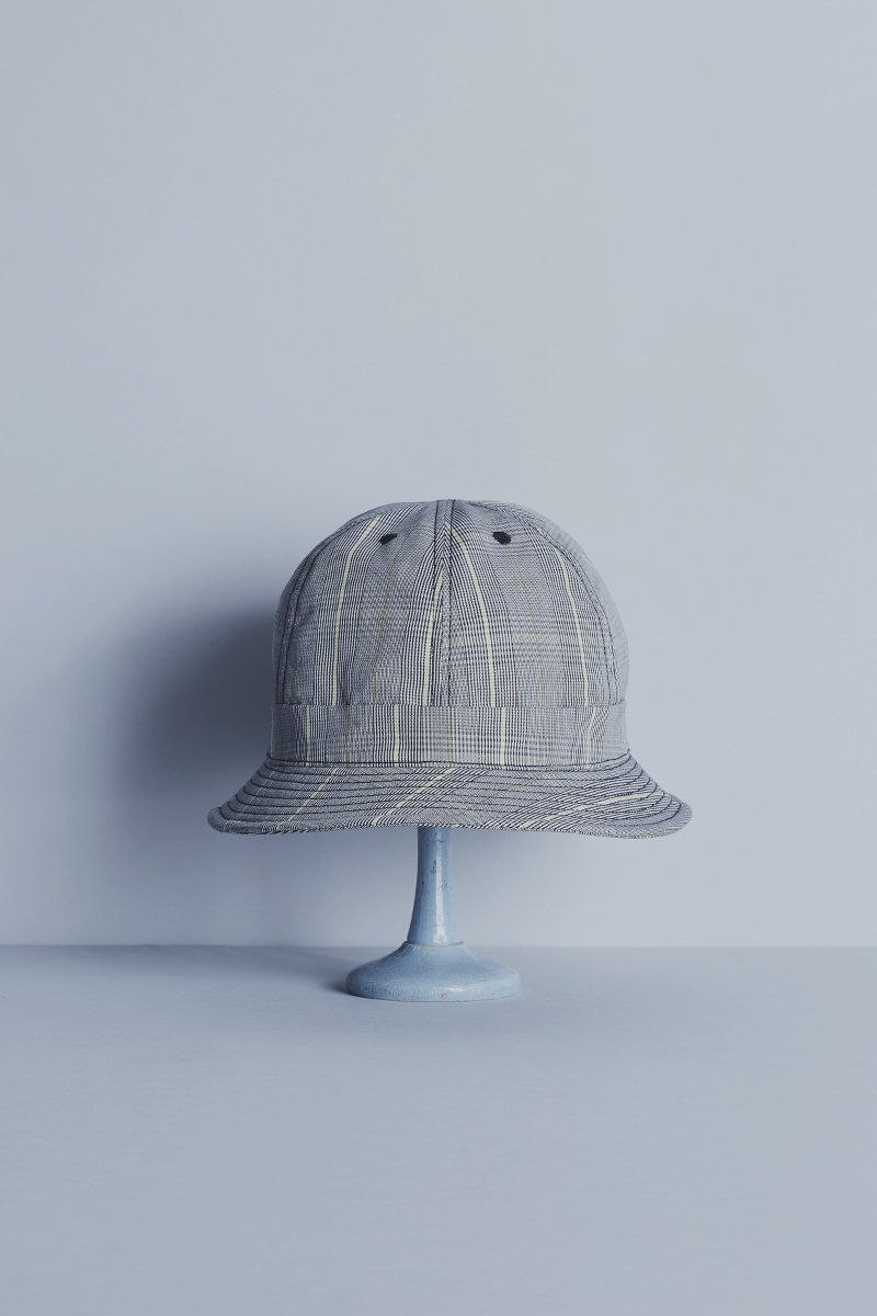 cotton linen metro hat / glen check