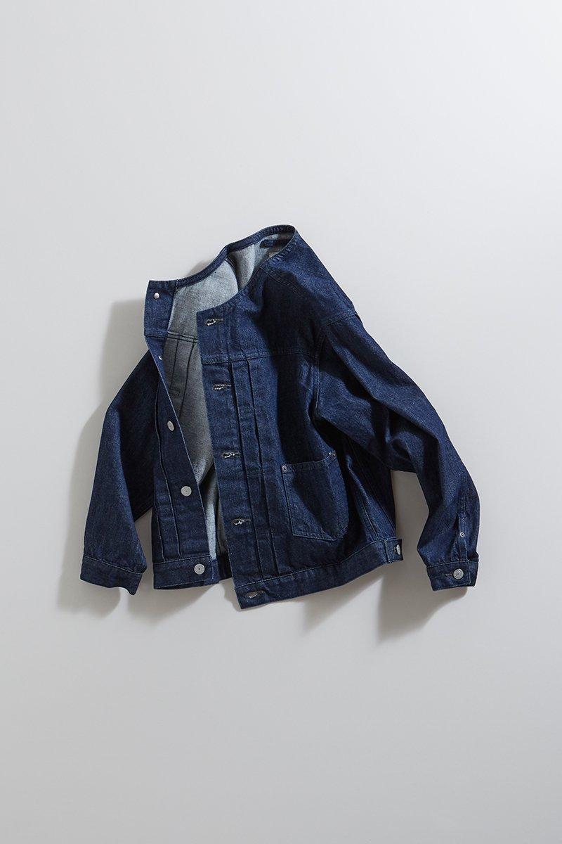 cotton denim no collar jacket