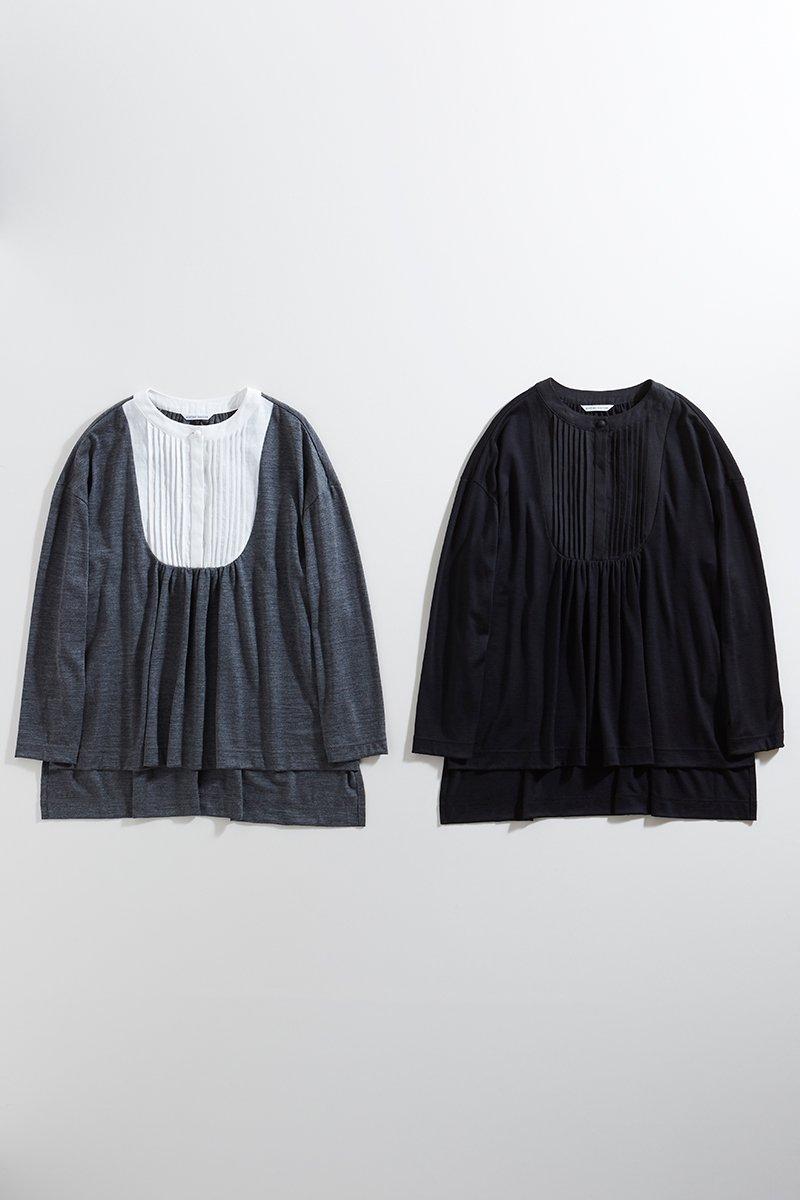 wool&linen bosom shirt c&s