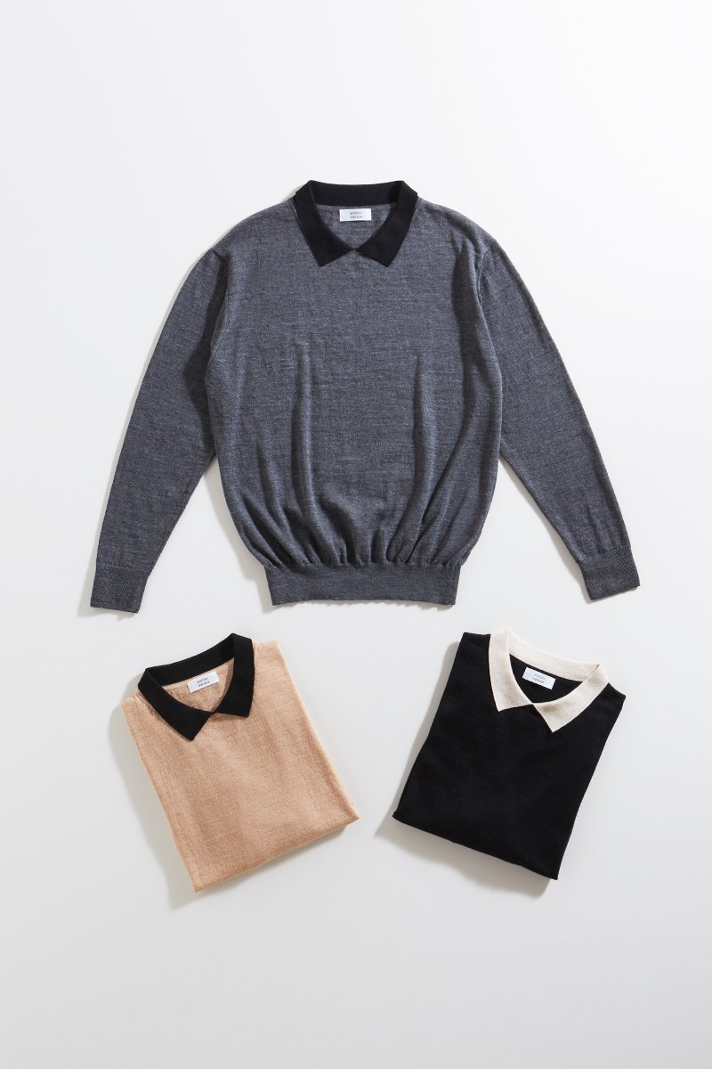 cotton wool with collar knit