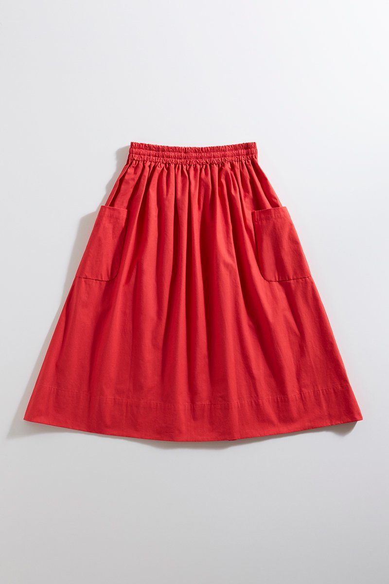 cotton patch pocket skirt / red