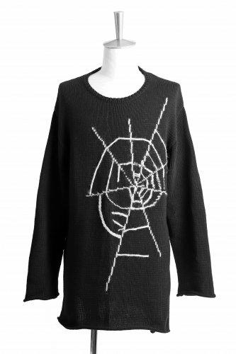 18AW YOHJI YAMAMOTO POUR HOMME BLACK Scandal 蜘蛛の巣刺繍 ニット 3 黒