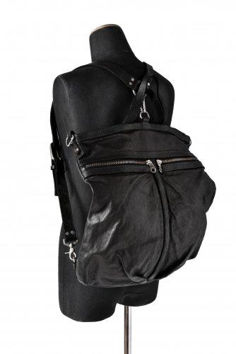 美品 イサムカタヤマ バックラッシュ イタリアンバッファロー+イタリアンショルダー製品染め レザー ヘルメットバッグ 黒 BACKLASH