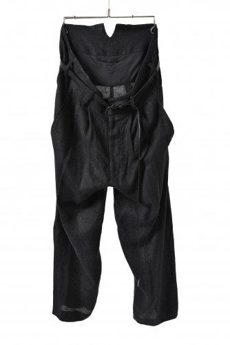 新品 ヌード マサヒコマルヤマ レザーベルト付き リネン 2タック ワイドパンツ 2(M) 黒