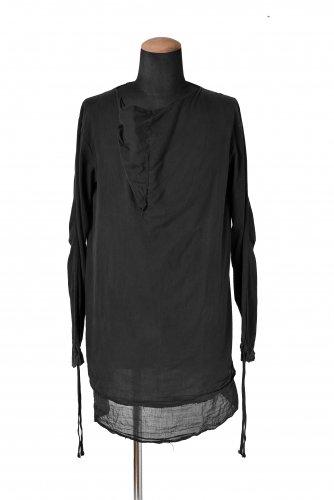09-10AW boris bidjan saberi SH2 製品染め カウルネック ロングシャツ S  黒