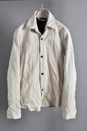 AKM ウォッシャブルカーフ レザーシャツ M アイボリーホワイト