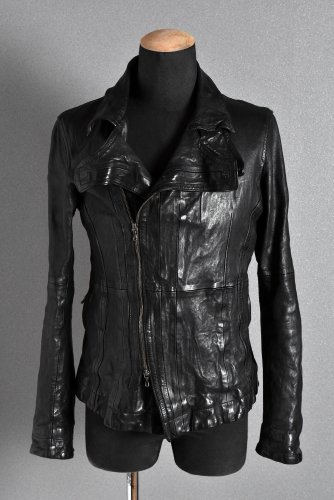 美品 JULIUS 2010-11AW goth_ik期 ディメンショナル ダブルライダースジャケット 1 黒 ユリウス