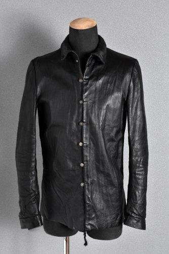 美品 ierib イタリアン カーフレザー シャツ 44 BLACK イエリブ