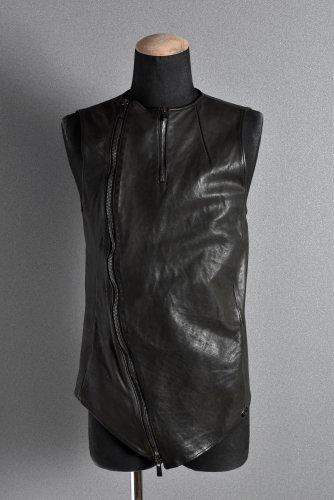 美品 incarnation Calf ZIP Vest S Dust Black インカネーション