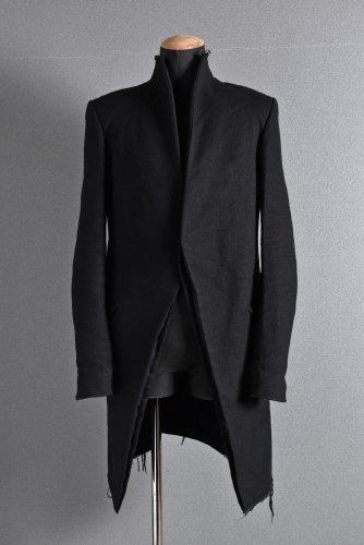 17AW CEDRIC JACQUEMYN  RAW COLLAR ロング コート 46 黒