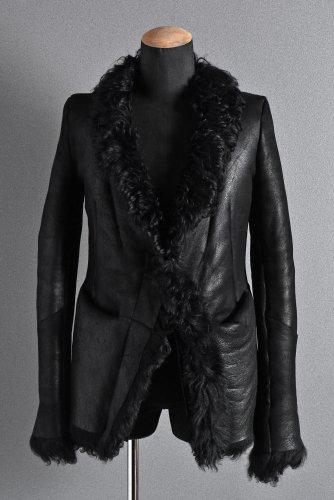 国内一点 美品 16AW CEDRIC JACQUEMYN MOUTON RAW COLLAR SHEEPSKIN JACKET 46 黒