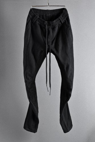 19SS A.F ARTEFACT FITTED STRETCH LONG PANTS / COMBI FABRIC 1 BLACK