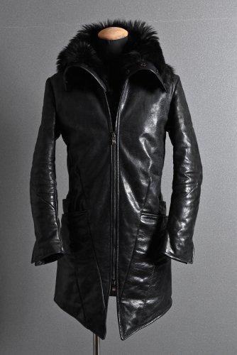 新品 19AW LOOM別注 incarnation HORSE LEATHER GOOSE DOWN COAT with SHEARLING NECK SCARF XS BLACK