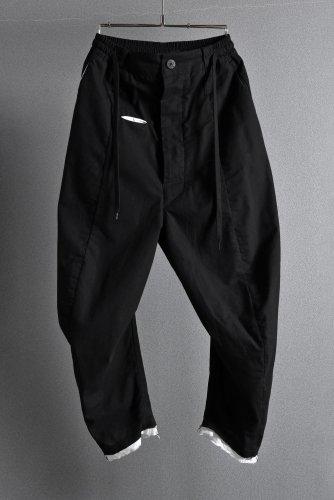 稀少 19SS MARC POINT 裾レイヤード クロップド パンツ 46 BLACK