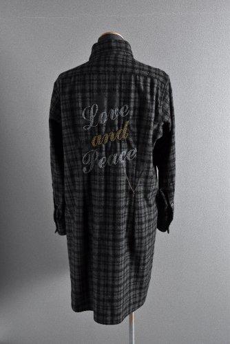 美品 Roenスカルスタッズ チェーン&ガムランボール ロング チェック シャツ 46 BLACK ロエン