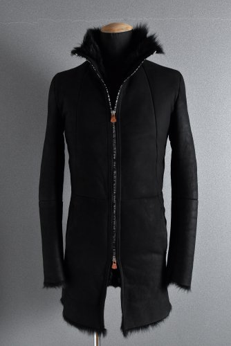 超美品 18AW LOOM別注 ierib exclusive middle coat / Toscana Baby Sheep Shearling 46 BLACK