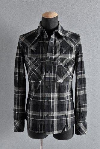 新品 19AW ISAMUKATAYAMA BACKLASH チェックプリント ピッグスエード レザーシャツ M BLACK