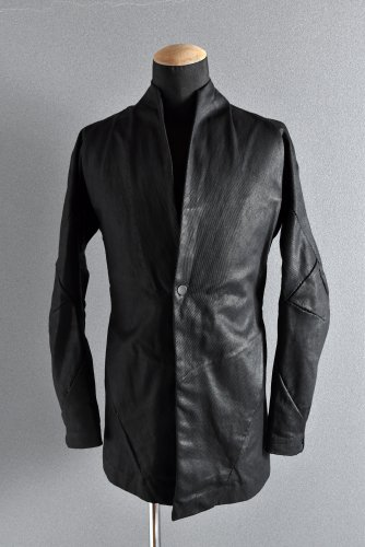 美品 18SS LEON EMANUEL BLANCK FORCED SHORT BLAZER JACKET RESINATED Co/Li-TWILL 46 BLACK