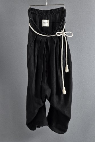 18AW MARC POINT  Wide Tuck Trousers with Rope Code 44 BLACK