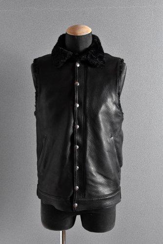 """美品 13AW Far Eastern Enthusiast C.M.M Leather Boa Vest """"THE CHIEF"""" M BLACK"""