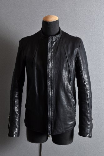 <img class='new_mark_img1' src='https://img.shop-pro.jp/img/new/icons1.gif' style='border:none;display:inline;margin:0px;padding:0px;width:auto;' />17SS incarnation incarnation Calf Leather MOTO Jacket Overlacked XS BLACK