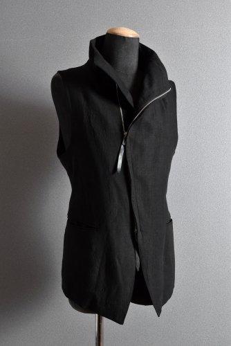 美品 18SS  SADDAM TEISSY リネン製品染  ハイネック ロングベスト 3 BLACK