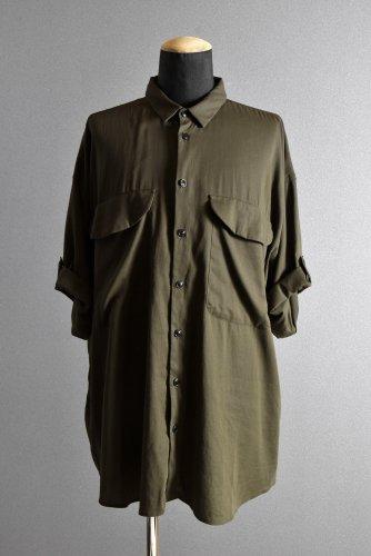 20SSKLASICA LOOSE HALF SLEEVE SHIRT / DOUBLE VOILE CLOTH (GARMENT WASHED) (OLIVE) 4 クラシカ