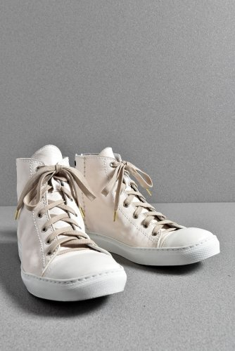 20SS incarnation CALF WHITE LEATHER HIGH CUT LACE UP SNEAKER 40 26cm (WHITE)