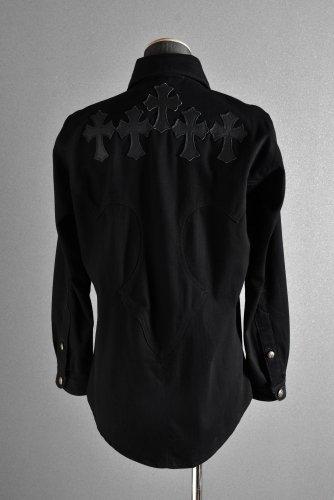 CHROME HEARTS (クロムハーツ)  美品 Cemetery Cross FLRKNEE Denim Jacket M 黒 セメタリークロス