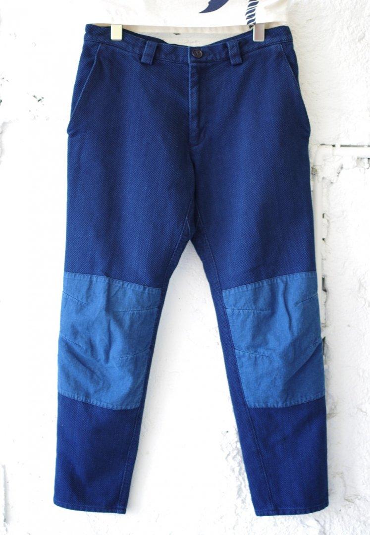 BLUE BLUE JAPAN 700079959 トゥルーインディゴダイ サシコノラパンツ ウィズ ニーパッチ[ONE]