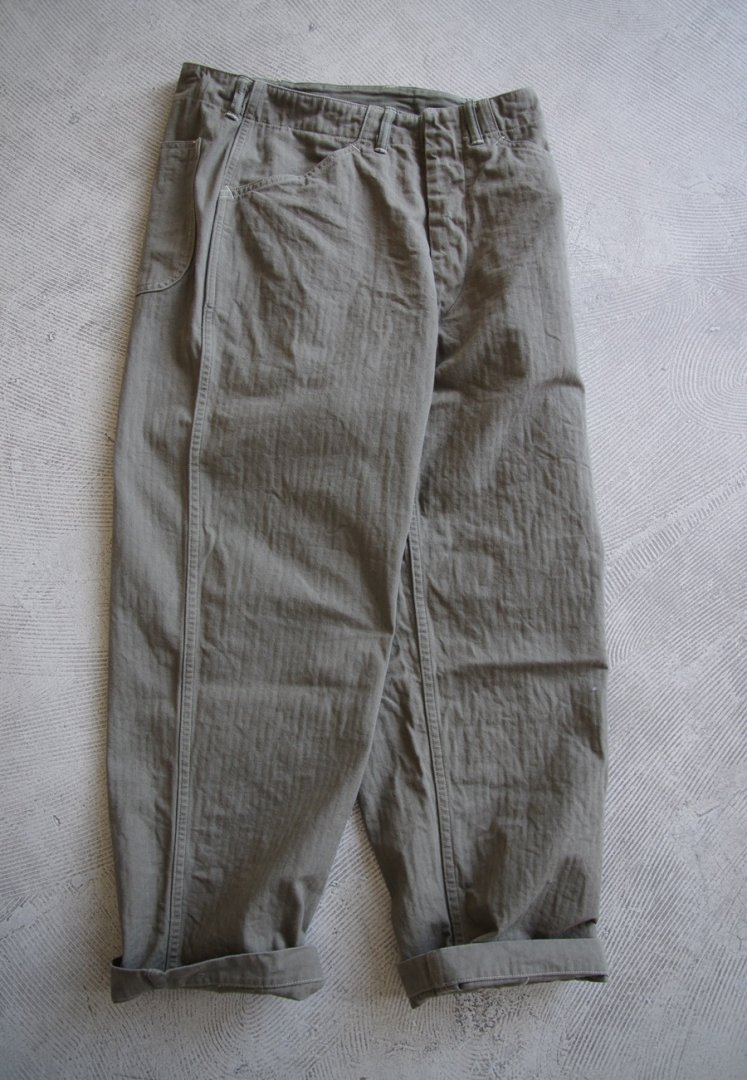 WAREHOUSE Lot 1213 MILITARY HERRINGBONE UTILITY PANTS [OD]