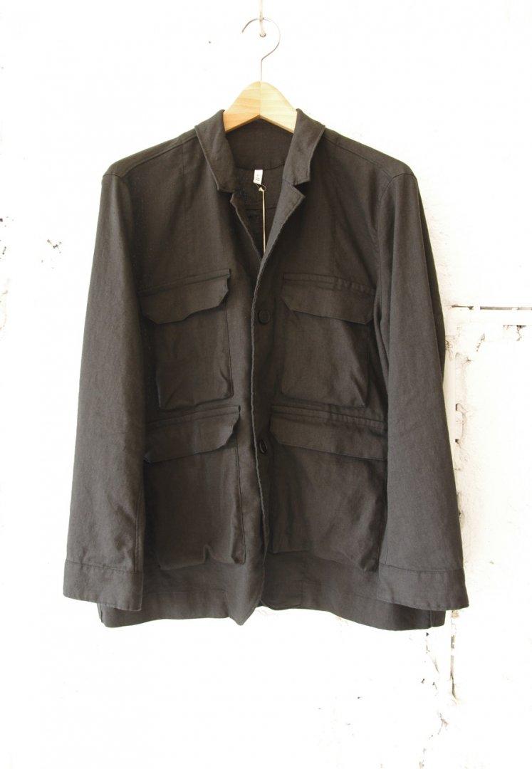 FIRMUM AR_FR071JK ポリコアリネン・キャンバス テーラードカラー シャツジャケット [BLACK]