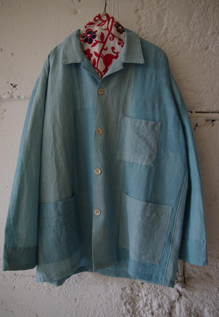 H.R. MARKET 700086347 カディコットン ミックスジャガート ロングスリーブシャツ[BLUE]