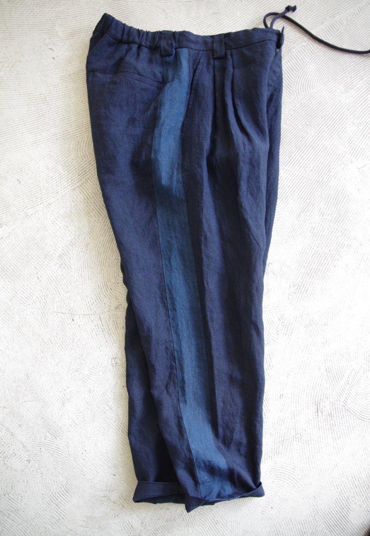 BLUE BLUE JAPAN 700085154 インディゴリネン ツートーン タックパンツ[ONE]