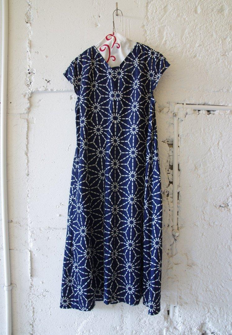 BLUE BLUE JAPAN 700085170 インディゴリネン アサノハバッセン ワンピース[NAVY]