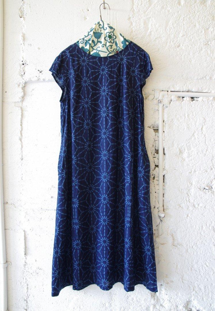 BLUE BLUE JAPAN 700085170 インディゴリネン アサノハバッセン ワンピース[INDIGO]