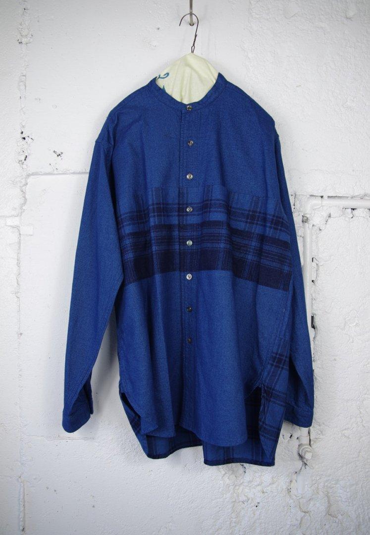 BLUE BLUE JAPAN 700086855 インディゴネル キリカエ スタンドカラー シャツ [BLUE]